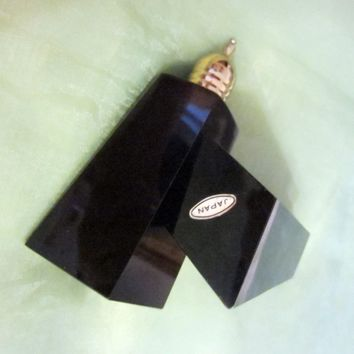 Japan Black Onyx Salt And Pepper Shakers Brass Stoppers