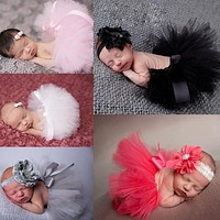 2016 New Flower Newborn Baby Tutu Skirt and Matching Headband Set Fluffy Baby Girl Tutu Skirt Baby Photography Props Shower Gift