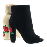 Morris03B Black By Wild Diva, Embroidered Floral Stitching, Chunky Block Heel Ankle Bootie w Peep Toe
