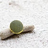 Yellow ring, Geometric ring, Polka dots ring, Minimalist ring, Contemporary jewelry, Polymer clay ring, Modern jewelry gift, 3D effect ring
