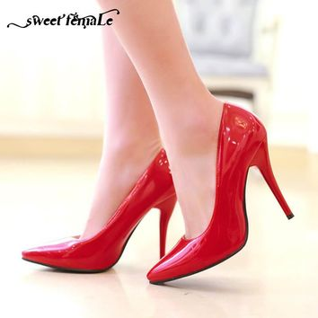 New Fashion Office High Heels Shoes Women Pumps Stiletto Thin Heel Pointed Toe Patent leather Zapatos Shallow Big size 34-48