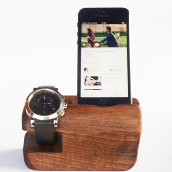 Wooden iPhone stand and  watch stand, Rustic iPhone holder, iPhone 6 holder, Wooden watch stand, Rustic iPhone holder