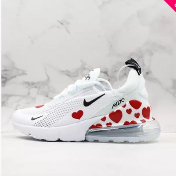Nike Air Max 270 Red Heart White Red Black Running Shoes