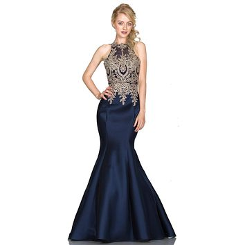 Embroidered Bodice Mermaid Prom Gown Cut Out Back Navy Blue