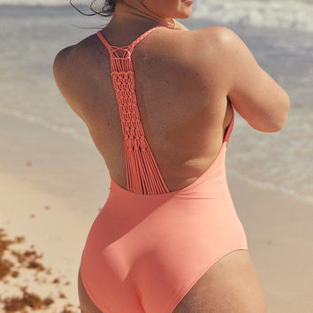 Aerie Macrame One Piece Swimsuit, Coral Sun