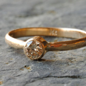 Chocolate Diamond Ring 14k yellow gold by DalkullanJewelry on Etsy
