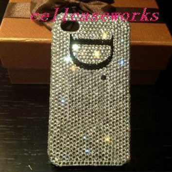 Custom initials On Sliver Crystals Glitter iPhone by cellcaseworks