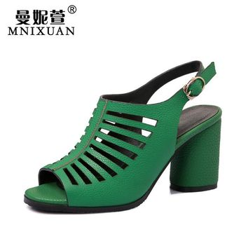 Women sandals gladiator plus size 40 41 2017 new arrival summer block high heels peep toe high quality ladies shoes green silver