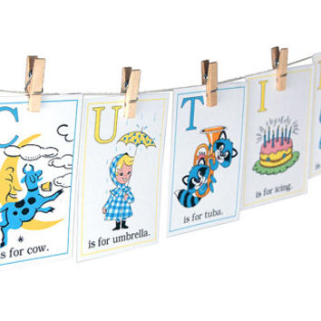 "Baby ABC flash cards / 3"" by 4.2"" alphabet flashcards / pastels / nursery decor / wall art / educational / cute retro illustrations"