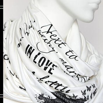 Pride and Prejudice book on the scarf - Ivory - Text Scarf - Book - Jane Austen - Quotes - Infinity scarf - Gift