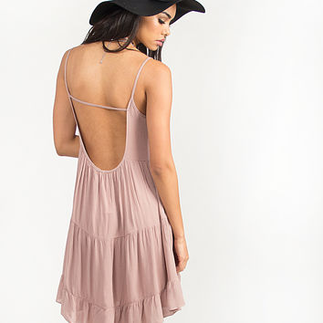 Tiered U-Back Babydoll Dress - Mauve - Small