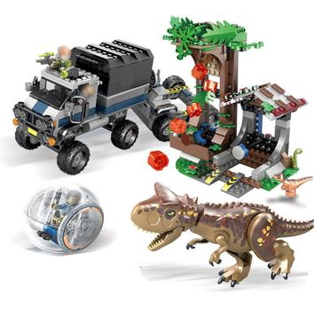 SY1080 Jurassic World Park 2 Carnotaurus Gyrosphere Escape dinosaur Dragon Figures Building Blocks Toys kids Fit Legoings 75929