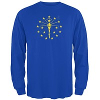 Born and Raised Indiana State Flag Mens Long Sleeve T Shirt