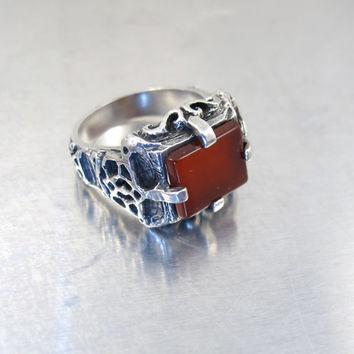 Men's Antique Carnelian Ring, Sterling Silver Red Carnelian Jewelry, Antique Ornate Gothic Carnelian Ring, Size 9.50 Statement Ring