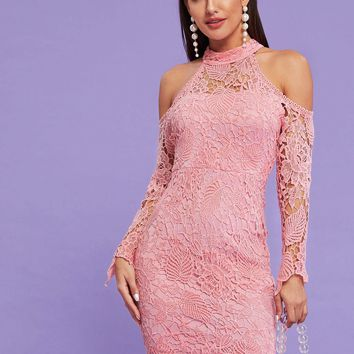 Guipure Lace Cold Shoulder Pink Bodycon Dress