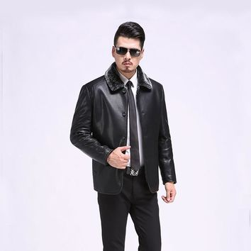 New Fashion PU Leather Jacket Men Black Brown Solid Mens Faux Fur Coat Slim Fit Youth Motorcycle Suede Jacket Male YYJ0050