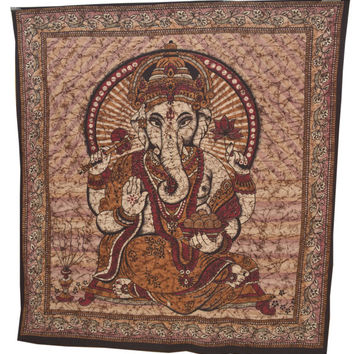 Indian Lord Ganesha Wall hanging Tapestry, Brown Ganesha hippie, tapestry ,curtain , handmade bed cover, table cover, Lord Ganesha Poster,