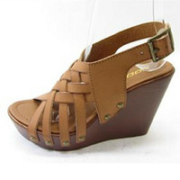 Freeman Tan Wedge Sandals