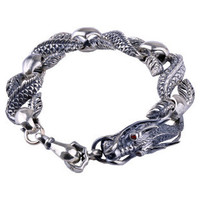 .925 Thai Silver Dragon Bracelet Retro Fashion Jewelry for Men