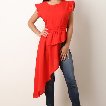 Chiffon Ruffled Sleeves Asymmetric Peplum Top