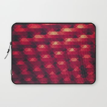 Abstract Color Pattern in Red Laptop Sleeve by Badbugs_art