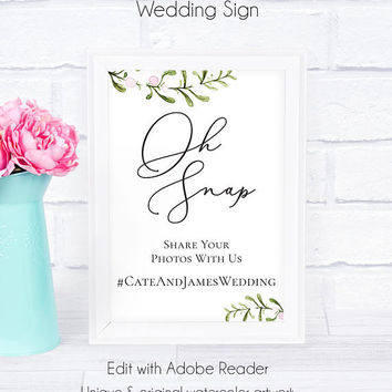 Oh Snap Wedding Hashtag Sign, Greenery, Watercolor, Printable, Rustic, Instagram Wedding, Hashtag Wedding Sign, Greenery Wedding