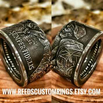 "US Marine Corps ""By Air, Land and Sea"" Ring - USMC Coin Ring - Hand Forged"