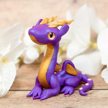 Purple Dragon Figurine, Dragon Sculpture, Dragon Figure, Polymer Clay Dragon, Purple and Gold Dragon, Small Dragon, Cute Dragon