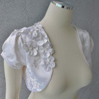 Bridal Wedding Cherry Blossom White Brocade Bolero Shrug Adorned With Same Fabric Flowers And Beads