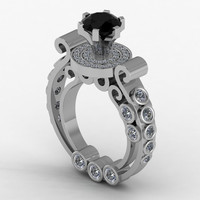 Gothic Engagement Ring Black Diamond and Silver