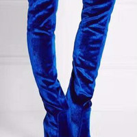 black blue red Women thigh boots 10cm high heel velvet over the knee boots size35-40