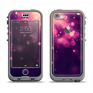 The Dark Purple with Desending Lightdrops Apple iPhone 5c LifeProof Nuud Case Skin Set
