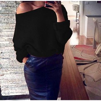 Winter New Women's Sexy Off-Shoulder Solid Color Long Sleeve Sweater 7#