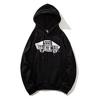Vans Autumn And Winter New Fashion Letter Print Women Men Hooded Long Sleeve Sweater Top Black