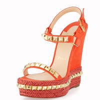 Cataclou Studded Suede Red Sole Wedge Sandal, Capucine/Gold