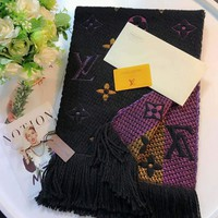 Louis Vuitton classic women's fine fashion trend scarf F-TMWJ-XDH black+purple