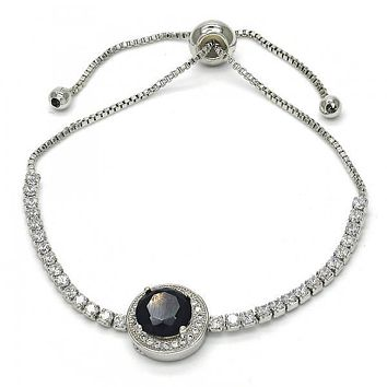 Rhodium Layered 03.155.0034.10 Fancy Bracelet, with Black Cubic Zirconia and White Crystal, Polished Finish, Rhodium Tone