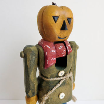 Vintage Carved Wood Pumpkin Man Nutcracker with Jointed Arms - Folk Art Jack O Lantern Scarecrow - Rustic Primitive Halloween Decoration