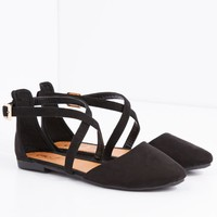 Black Cross Strap Pointed Toe Flat | Flats | rue21
