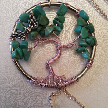 Turquoise Tree of Life Car Mirror Accessory/Sun Catcher with Magnetic Lock