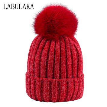 Fox Fur Pompom Hat Women Winter Knitted Rabbit Fur Caps Fashion Female Thicken Warm Caps Skullies Beanies Solid Striped Hats