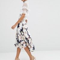 ASOS Midi Skirt with Splices in Oversized Floral Print at asos.com