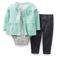 3-Piece Cardigan & Knit Denim Pant Set