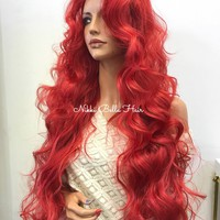 Red Human Hair Blend Lace Front Wig -  Ariel 8175