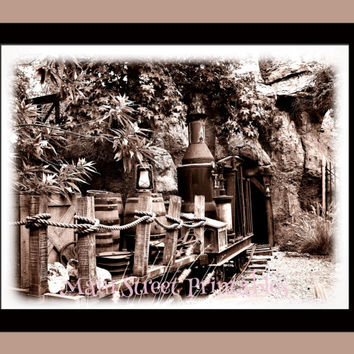 Big Thunder Mountain, Run Away Mine Train, Disneyland, Antique Style Photography 8 x 10 Instant Gift Giving