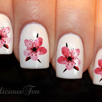 Dashing Cherry Blossom Flower Nail Wrap Art Water Transfer Decals 21pcs