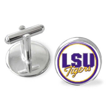 LSU Tigers cuff links, sports, Louisiana State University, groomsmen gifts, wedding keepsake, made in USA, stocking stuffer,sporty gift