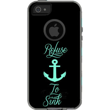 Refuse to Sink Anchor-Mint and Black - Otterbox Commuter iPhone Case. iPhone 5 case, iPhone 6 case, iPhone 6 plus case.