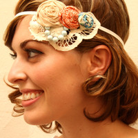 Vintage Lace & Beads Flapper Girl Style, Blue and Orange 1920s Antique style Rose Headband -Ready to Ship