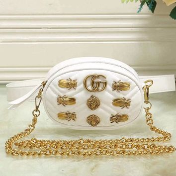 shosouvenir  Gucci Women Shopping Leather Metal Chain Crossbody Satchel long paragraph Waist bag
